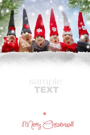 Christmas Elves decorations. Product made from salt and flour 写真素材