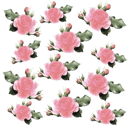 Seamless pattern with watercolor rose photo