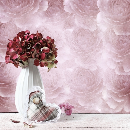 hydrangea composition in retro background photo