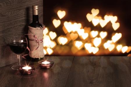 valentine background of wine and candle Archivio Fotografico