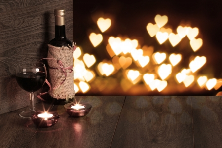 valentine background of wine and candle Stock Photo