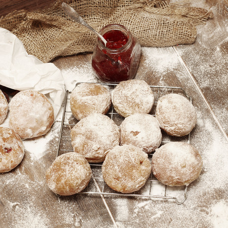 Fresh donuts with jam photo