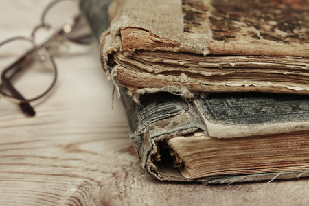front angle: Closeup of old book pages texture