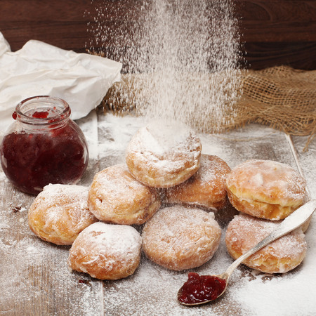 Fresh donuts with jam Stock Photo