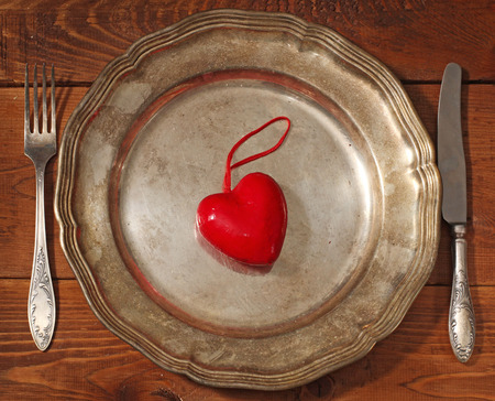 plate, fork, knife and red heart photo