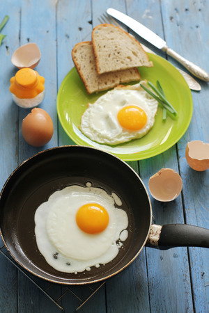 sunny side up: Eggs and bread for breakfast