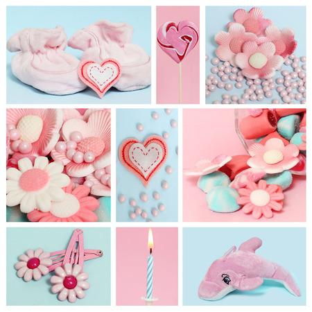 Collage met snoep en decoratie voor de baby Stockfoto