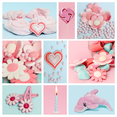 Collage with sweets and decoration for baby