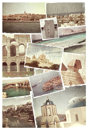 Vintage travel background with old photo. photo