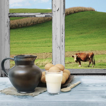 through the window: Countryside view of the meadow and a cow seen through the old window. Stock Photo