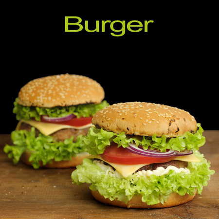 burger with vegetables and beef photo