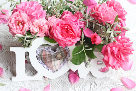 Fresh roses and Love  photo
