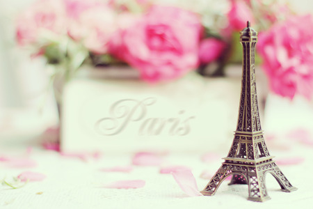 Paris - Eiffel Tower and roses in retro style