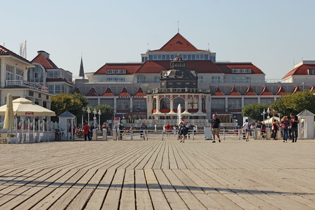 SOPOT, POLAND - September18, 2014: The Sopot Pier in the city of Sopot built in 1827. At 511m, the pier is the longest wooden pier in Europe. Pier life on september 18, 2014 in Sopot, Poland.