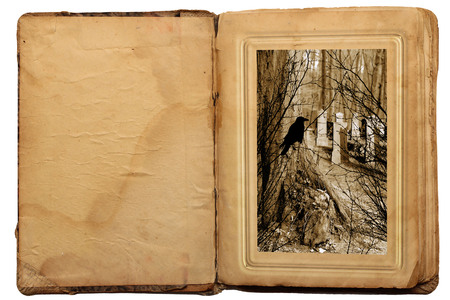 Old book in vintage style. Halloween story 스톡 콘텐츠
