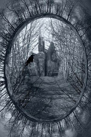 manor house: Haunted house and raven
