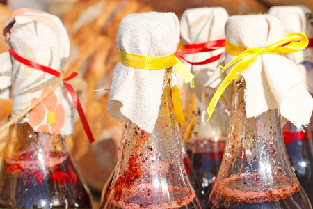 Homemade different variants syrups in  bottles