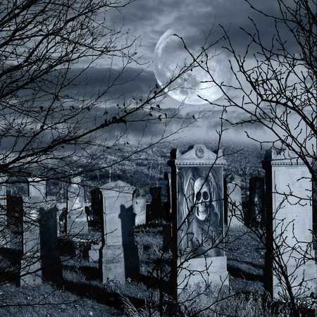 spooky graveyard: Halloween scary composition with old cemetery Stock Photo