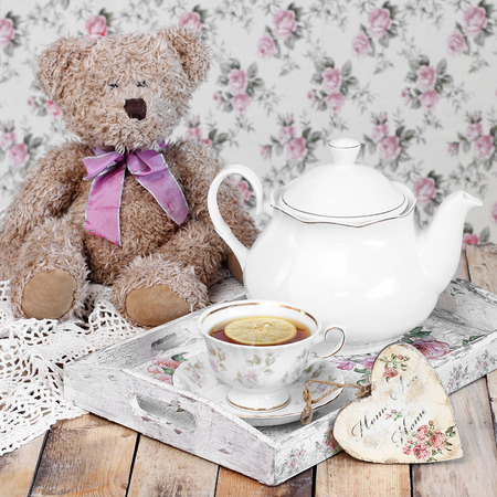 tea and biscuits: tea in elegant cup in retro style Stock Photo