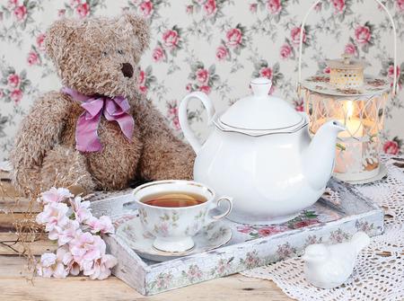 tea in elegant cup in retro style Reklamní fotografie