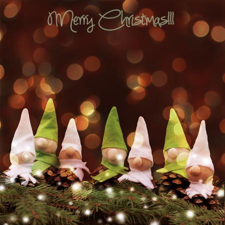dwarf christmas: homemade  little elves.Decoration for Christmas time Stock Photo