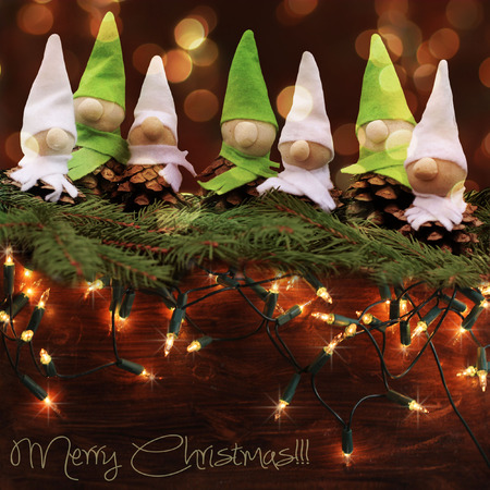 homemade  little elves.Decoration for Christmas time photo