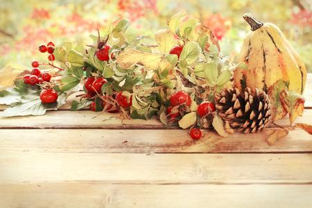 autumn decoration in vintage style photo