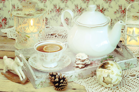 christmas tea: christmas tea in retro style
