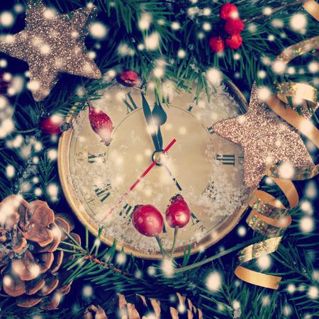 new year clock before midnight photo