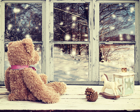 teddy bear and rocking horse looking at snowy night