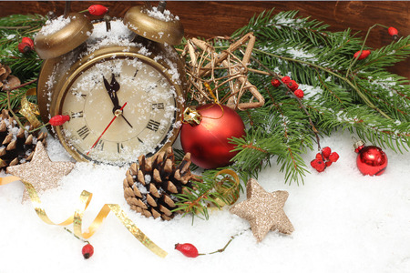 the end of the year: new year clock before midnight