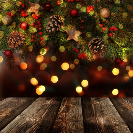 Christmas  background with empty rustic table 版權商用圖片 - 33933013
