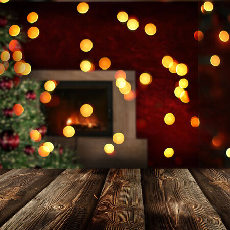 Christmas  background with empty rustic table