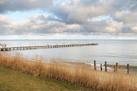 Polonia: View on pier in Orlowo, Poland