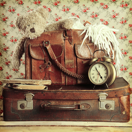 suitcase: old suitcase in retro style Stock Photo