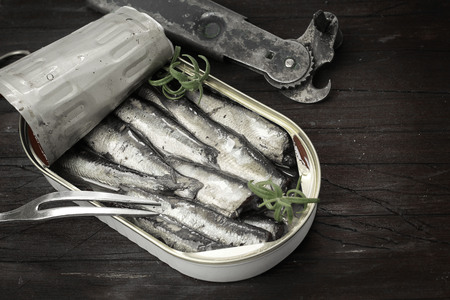 canned meat: Sardines, sprats canned in a tin