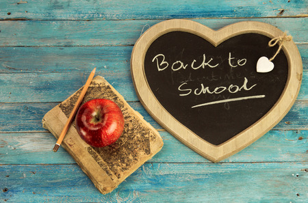 Back to school - blackboard and school equipment in old style