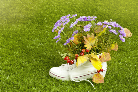 sport shoe: gumshoes with flowers inside on green grass