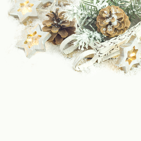 christmas table: Christmas background with decoration with light star, cones and twigs Stock Photo