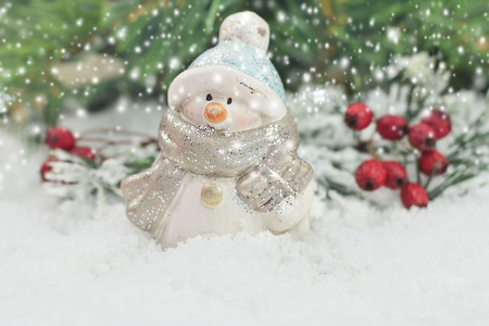 snowman wood: Snowman with winter snow background