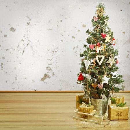 tree decorations: Christmas tree and Christmas decorations Stock Photo