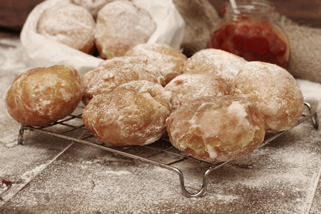 jewish group: Fresh donuts with jam Stock Photo