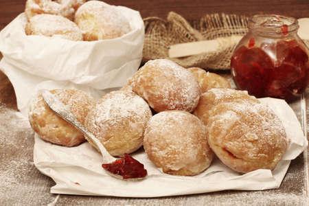 jewish home: Fresh donuts with jam Stock Photo