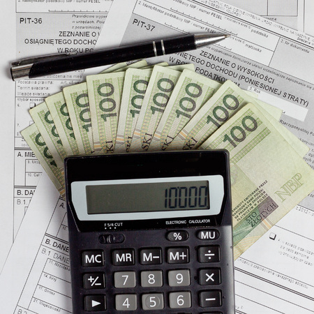 tax forms: Polish tax forms, PIT-36 and PIT-37.