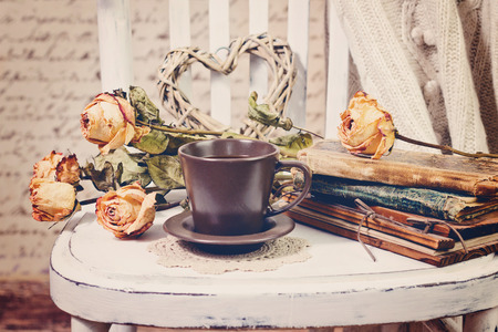 white rose: Vintage old books, roses and cup of coffee