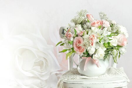 arrangements: Wedding bouquet with roses Stock Photo