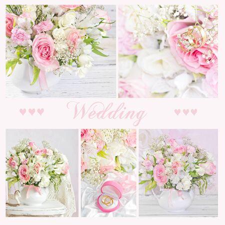 Collage von Hochzeit Bouquet