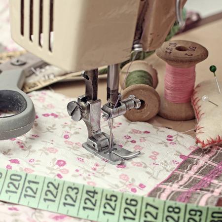 haberdashery: sewing machine, dressmaker scissors and thread-style retro Stock Photo