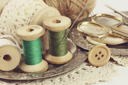 haberdashery: Spools of threads and buttons