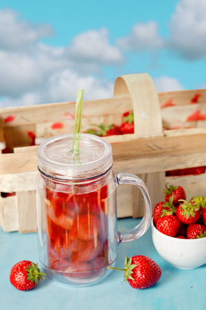 compote: fresh strawberry compote with ripe red strawberry